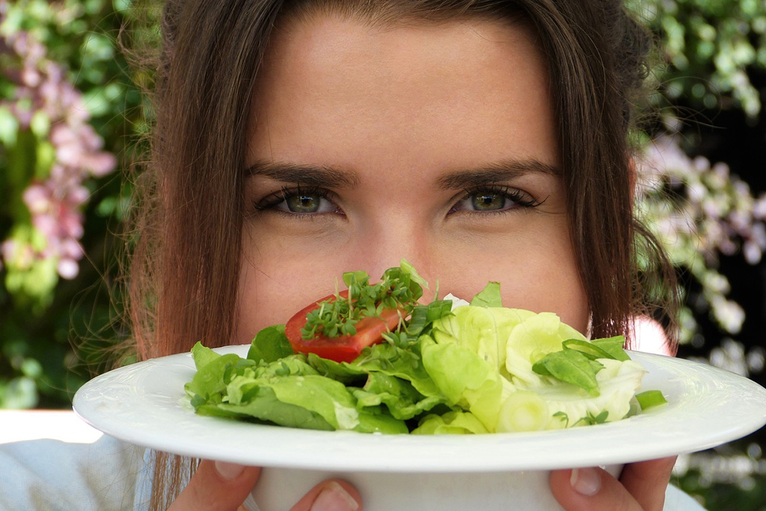 Beauty Eyes Plate Girl Health Salad Young Woman